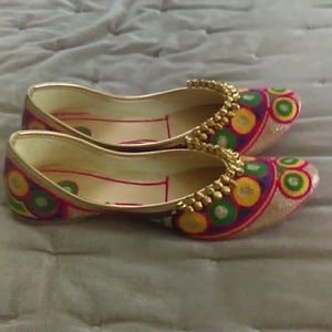 Traditional Embroidered Indian Slippers with Bells